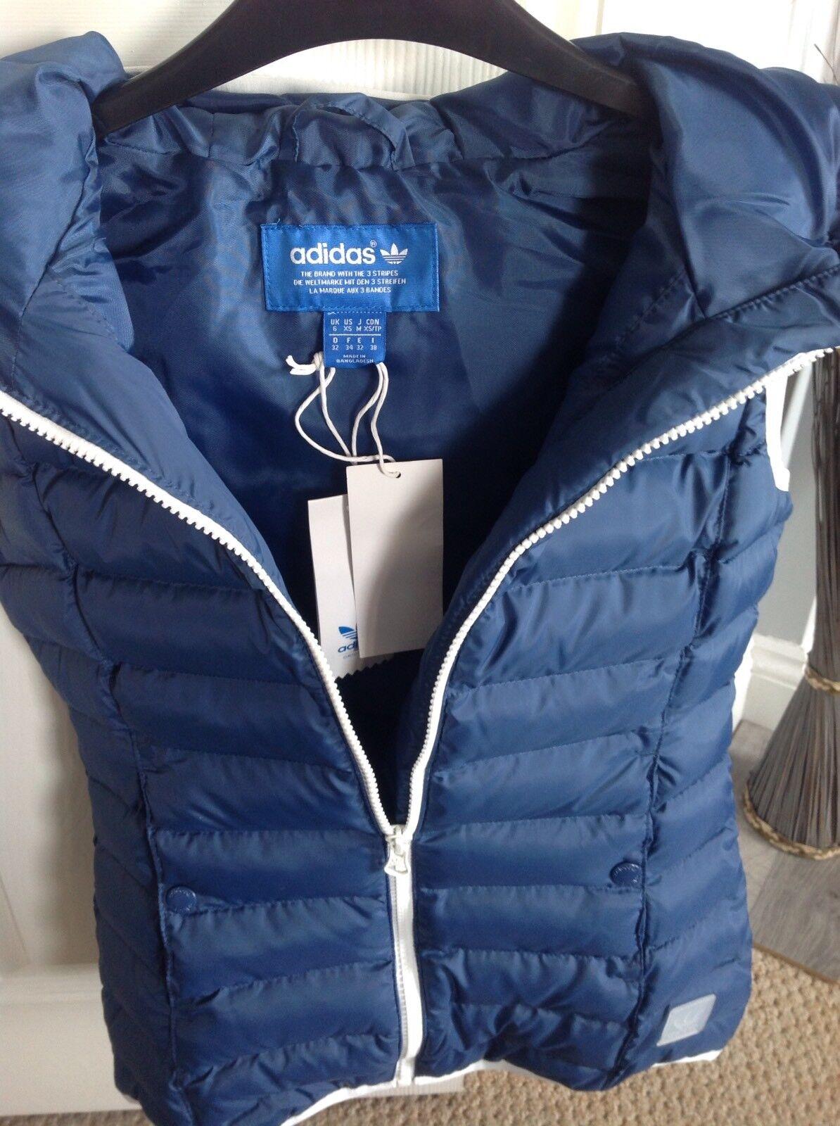 Brand New Adidas Originals Ladies Slim Vest Gilet Hood bluee White 32