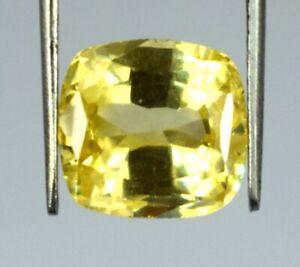 Yellow Sapphire Cushion Gemstone 10.95 Ct Natural 10 x 9 mm AGI Certified L5128
