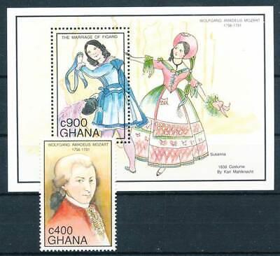 269043) Ghana Nr.1785+block 216** 200. Todestag Mozart Komponisten Letzter Stil