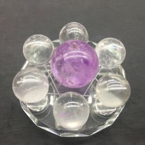 Polished-NATURAL-7-Star-Amethyst-amp-Clear-Quartz-Crystal-Sphere-Ball-amp-3-1-034-Glass