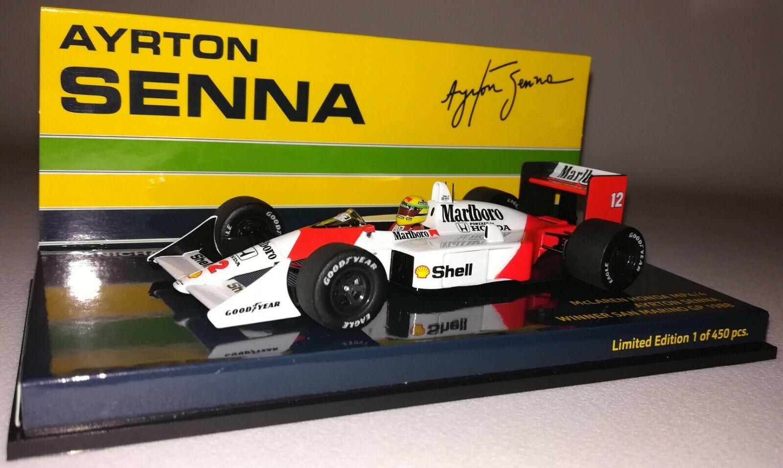 Minichamps McLaren Honda MP4-4 Ayrton Senna 1 43 San Marino GP 1988 'Marlboro'