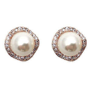 Fashion Jewelry 18K Rose Gold Plated Imitation Pearl Stud Earrings