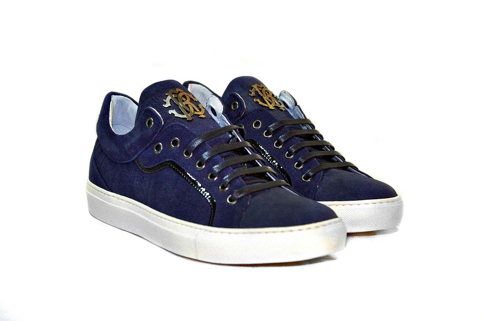 Roberto Cavalli 05469 Men's Blue Suede Leather Sneakers