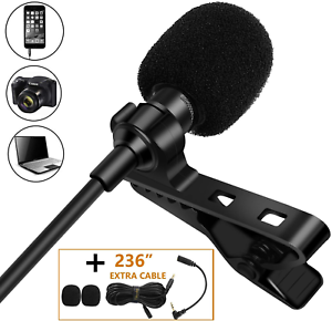 Lavalier Lapel Microphone,Tikysky Clip On Lav Mic for iPhone Android Cell Phone