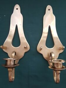 Vintage-Pair-Andrea-By-Sadek-Solid-Brass-Metal-Wall-Sconce-Candle-Holders