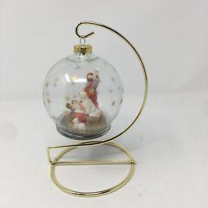 Gold Tone Christmas Ornament Display Holder Glass Nativity ...
