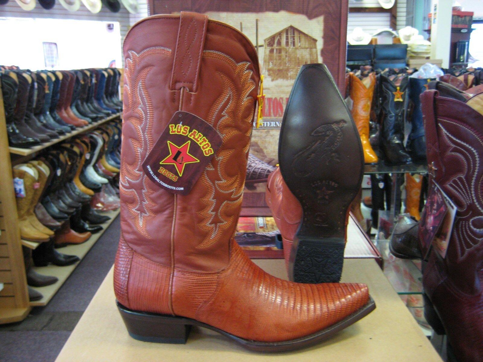 LOS ALTOS COGNAC SNIP TOE GENUINE LIZARD TEJU WESTERN COWBOY BOOT (D) 94D0703
