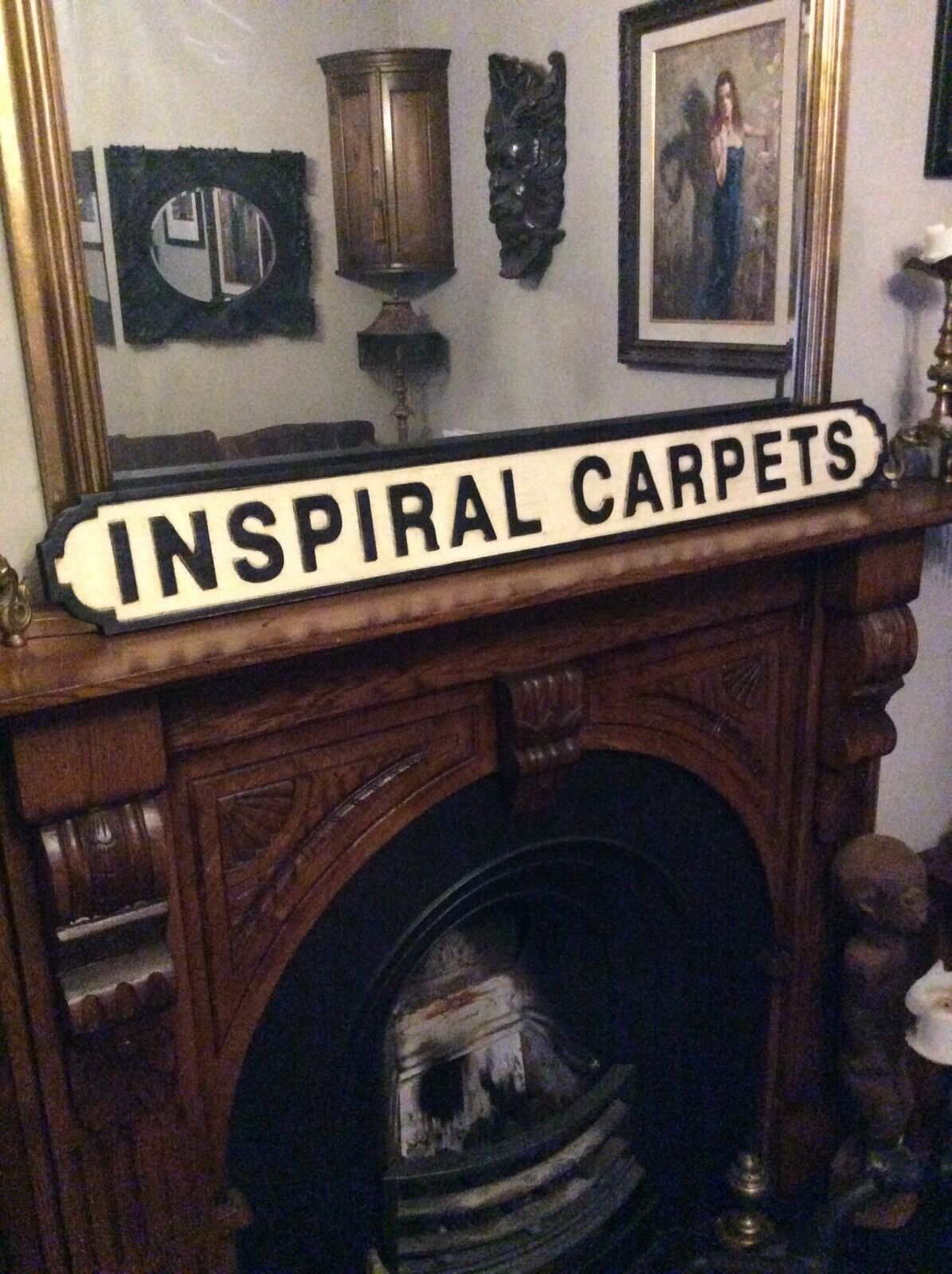 Inspiral Carpets Manchester Indie Noel Gallagher in Legno Scolpito Segno