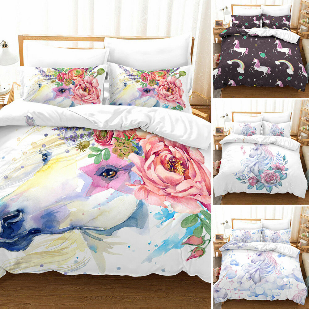 Unicorn Bedding Set Cartoon Print for Kids Duvet Cover with Pillowcases Cover