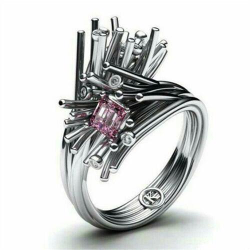 Coole Frauen Männer Silber Pink Sapphire Ring Hochzeit Schmuck Gr Geschenk Q0E9
