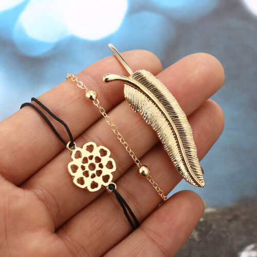 Ladies Gold Triangle Knot Love Cactus Opening Bangle Chain Bracelet Set New
