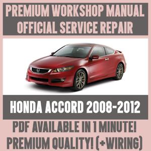 workshop manual service repair guide for honda accord 2008 2012 rh ebay ie honda accord 2008 service manual pdf Honda Accord Manual Online