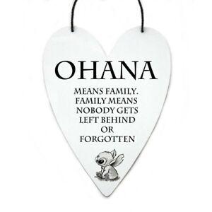 Disney-Lilo-and-Stitch-Ohana-familia-cita-en-Metal-Corazon-Colgante-De-Pared-Arte-Regalo