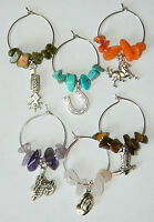 Set Of 6 Colored Gemstone Silver Country Western Wine Glass Charms Markers Horse