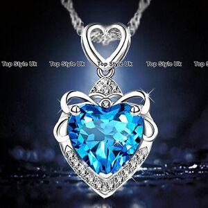 Heart-Necklace-Silver-Pendant-Chain-Blue-Topaz-Gemstone-Fashion-Jewellery-925-B2