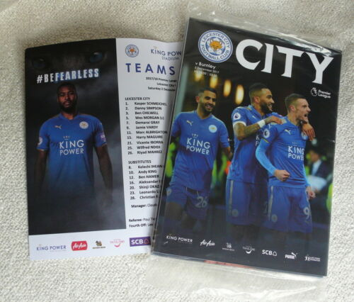 Leicester City football LCFC v Burnley 2017 – MINT programme + m sheet + post
