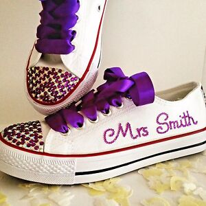 669a2ca6e448 Image is loading Wedding-Bridal-Trainers-Shoes-Prom-Customised-and- Personalised-