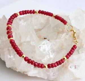 Rubí Pulsera Banda de Brazo Piedra Preciosa Facetados Rondell Rojo Rubinarmband
