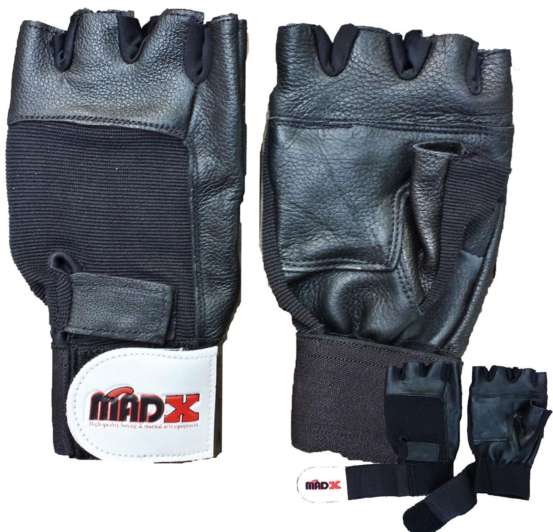 Madx Leder gewichthebe-handschuhe wrap-around Handgelenkstütze Training EU S M L