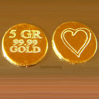 HERZ GOLDBARREN 0,324 Gramm (999,9 Gold Barren Geschenk Geburtstag)