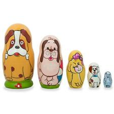 Set of 3 Bears with Rose and Bow Wooden Nesting Dolls 4.25 Inches