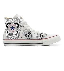Scarpe-Converse-All-Star-Custom-Black-amp-White-Skull-artigianali-Made-in-Italy