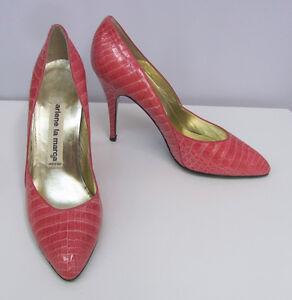 vintage arlene la marca alligator shoes pink pumps worn