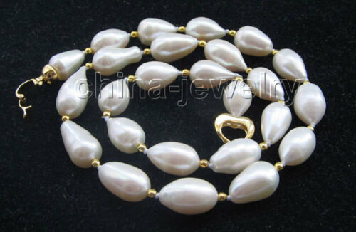 """GP P5454-20/"""" 14mm natural white baroque rice shape freshwater pearl necklace"""