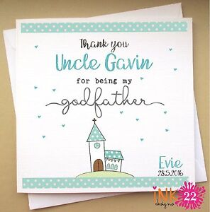 Personalised Christening Baptism Card Church Thank You Godfather