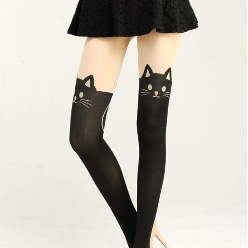 New Lady Enticing Cat Tail Tattoo Printed Knee High .Stockings Tights Pant Deko