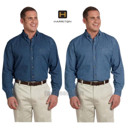 Harriton Mens Long-Sleeve Denim Shirt S-5XL M550