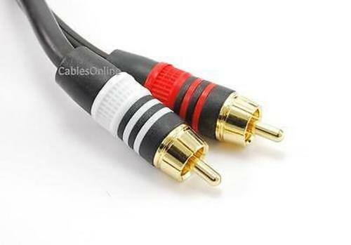 25ft Premium 3.5mm Stereo Plug to 2-RCA Gold-Plated Audio 22AWG Cable AV-025N