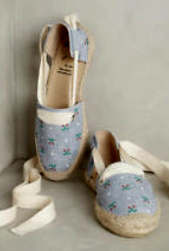 Anthropologie KMB Lace Blau Cherry Print Canvas Lace KMB Up Espadrilles Schuhes 39 5ebfa1