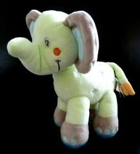 * DOUDOU PLAT NICOTOY ELEPHANT BLEU  VERT CROISSANT DE LUNE ETOILE ETAT NEUF *