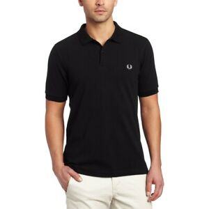 Details about Fred Perry Men Tshirts Plain Polo Shirt Black