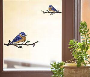 Clr Wnd Eastern Bluebird Stained Glass Vinyl Window