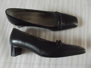 Square Mid Uk Heel Block Shoes Leather Toe Buckle Gabor