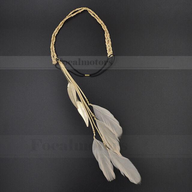 Boho Hippie Feather Headband Headdress Peacock Tassels Weave Headband Cream New