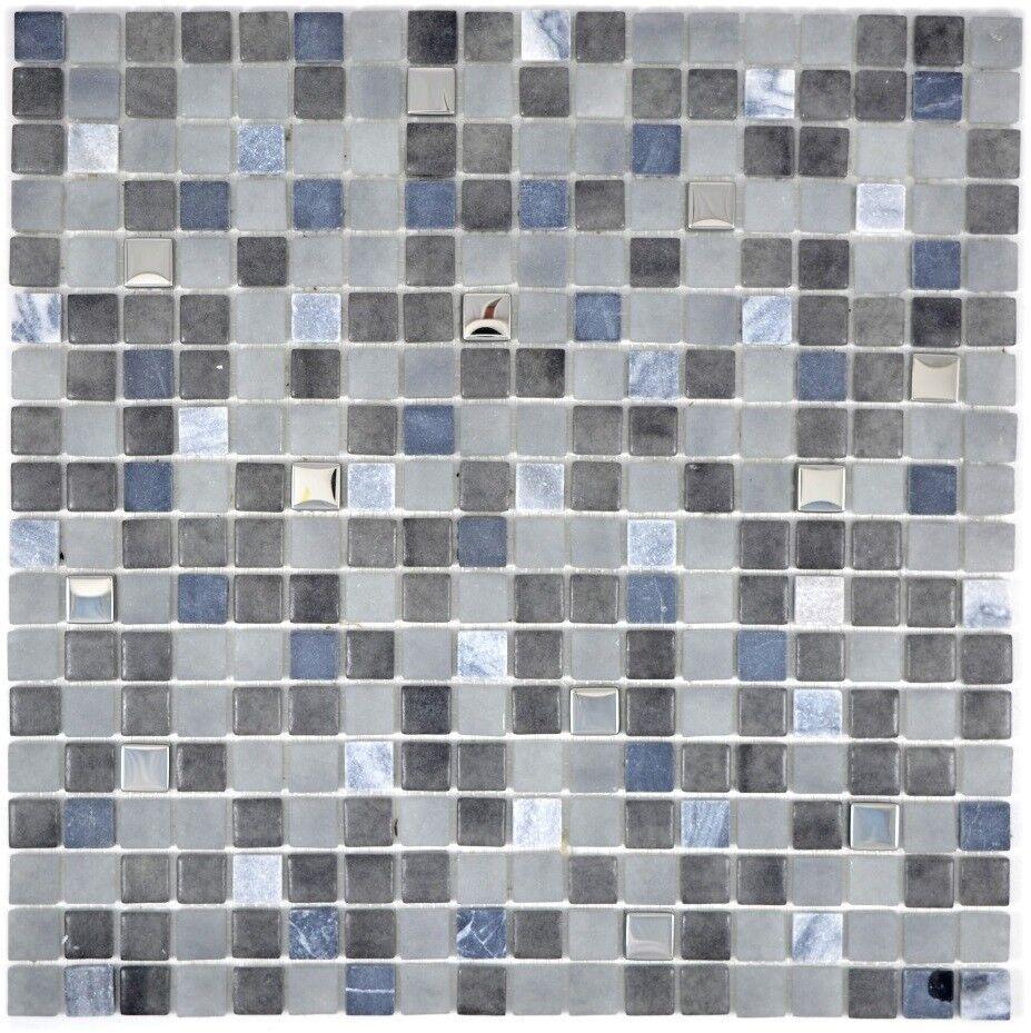 Mosaïque carreau translucide pierre schwarz schwarz cuisine mur 91-0334_f   10 plaques