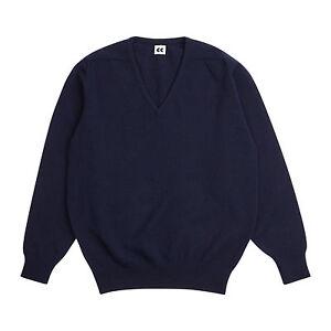 Community-Clothing-Men-039-s-Navy-Wool-V-Neck-Jumper