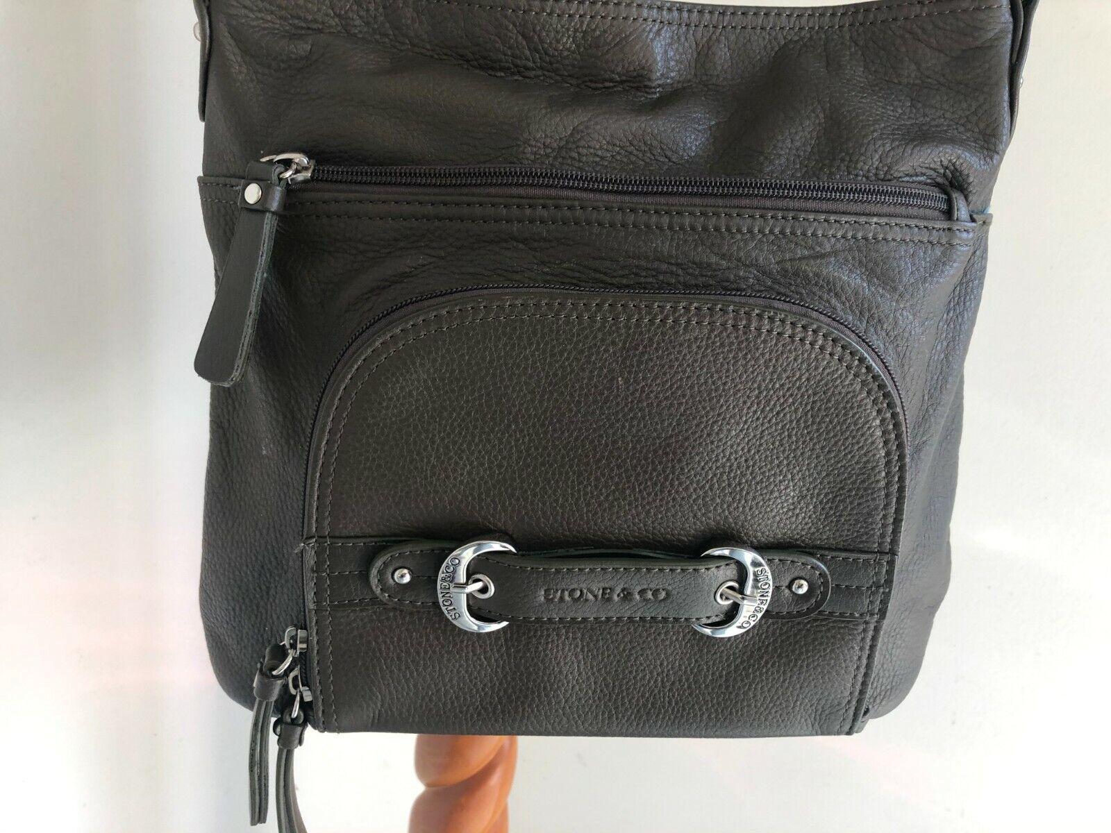 STONE & CO LEATHER SHOULDER BAG PURSE BROWN EXCELLENT