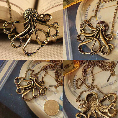 Women's Vintage Bronze Octopus Style Dress Sweater Chain Necklace Pendant CATOP
