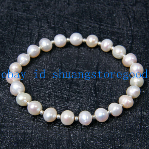 Real 7-8mm White Freshwater Cultured Pearl Bracelet 7.5/'/' AAA++