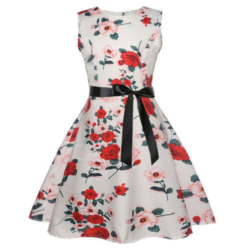 Teen Baby Girls Sleeveless Floral Print Vintage Princess Gown Prom Swing Dress