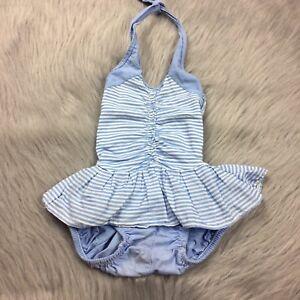 541164927d9 Details about Vintage Blue White Stripe Toddler Baby Girls Skirted Halter  Romper Sunsuit
