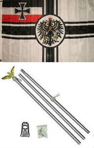 Details about 3x5 German World War 1 WWI Imperial Germany Flag Aluminum  Pole Kit Set 3'x5'