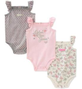8b4be9bd9dcf Calvin Klein Infant Girls 3pc Bodysuits Pink Gray Size 0 3M 3 6M 6 ...