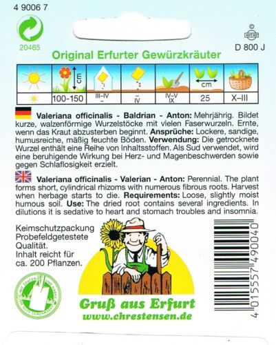 490067 Baldrian Anton Saatgut Samen Sämereien Kräuter