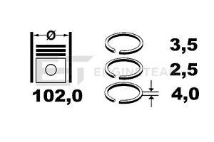 87 STD 2.5-1.75-2.5 RENAULT LAGUNA 2.2 D//TD G8T SEGMENTS DE PISTON 4x