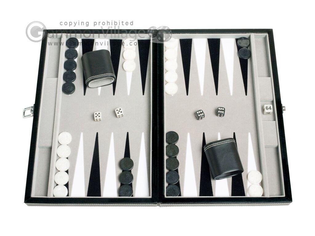 15 Pulgadas De Cuero De Viaje Backgammon Set-Terciopelo Campo De Juego-De Mesa Clásico